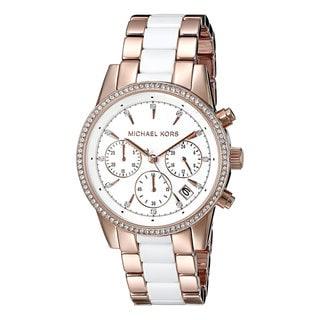 Michael Kors Women's MK6324 Ritz Rosegold tone and White Acetate Watch