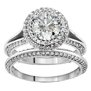 14k or 18k White Gold 2 1/5ct TDW Diamond Encrusted Halo Engagement Ring (G-H, SI1-SI2)