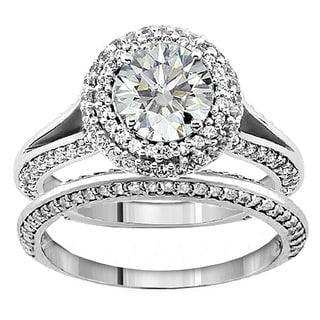 14k or 18k White Gold 2 1/5ct TDW Diamond Encrusted Halo Engagement Ring