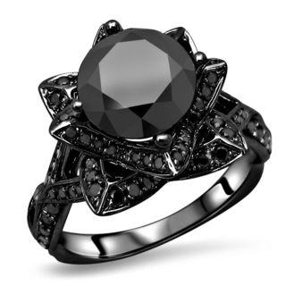 Noori 14k Black Gold 3ct TDW Round Black Diamond Lotus Flower Engagement Ring