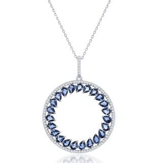 La Preciosa Sterling Silver Blue Cubic Zirconia Circle Pendant with 18-inch Cable Chain