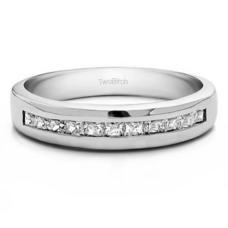 TwoBirch Sterling Silver Men's Wedding Fashion Ring with Cubic Zirconia (0.48 Cts.)
