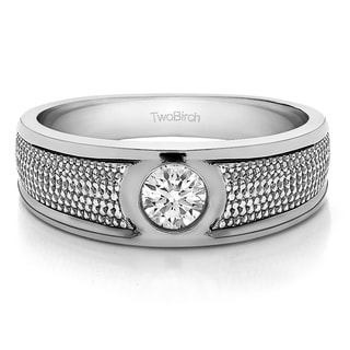 Sterling Silver Men's Wedding Fashion Ring with Cubic Zirconia (0.25 Cts.)