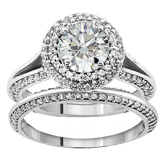 Platinum 2 1/5ct TDW Diamond Encrusted Halo Engagement Ring (More options available)