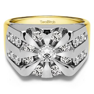 TwoBirch Sterling Silver Men's Wedding Fashion Ring with Cubic Zirconia (2.98 Cts.) (More options available)