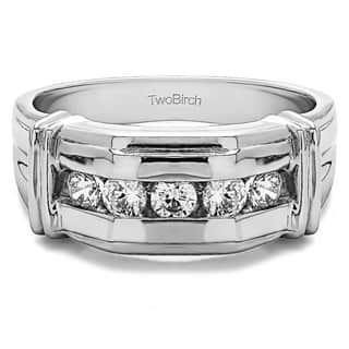 TwoBirch Sterling Silver Men's Wedding Fashion Ring with Cubic Zirconia (0.5 Cts.)
