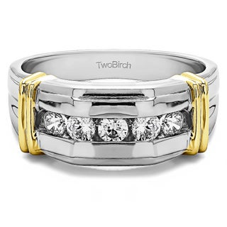 TwoBirch Sterling Silver Men's Wedding Fashion Ring with Cubic Zirconia (0.5 Cts.) (More options available)
