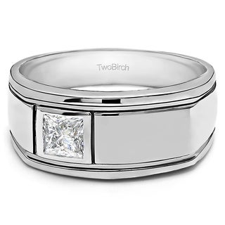 TwoBirch Sterling Silver Men's Wedding Fashion Ring with Cubic Zirconia (0.25 Cts.)