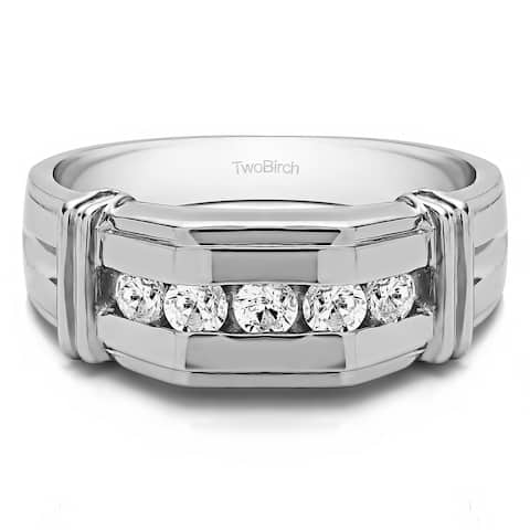 TwoBirch Sterling Silver Men's Wedding Fashion Ring with Cubic Zirconia (1 Cts.)