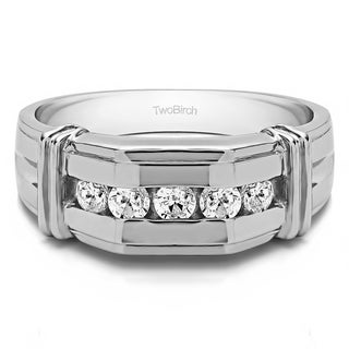 TwoBirch Sterling Silver Men's Wedding Fashion Ring with Cubic Zirconia (1 Cts.) (More options available)