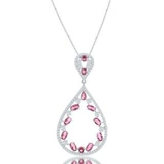 La Preciosa Sterling Silver Colorful Cubic Zirconia Teardrop Pendant Necklace