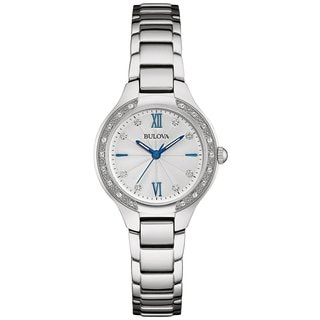 Bulova Women's 96R208 Stainless Steel and Diamond Watch with a 30M water resistance and a Blue Accented Dial