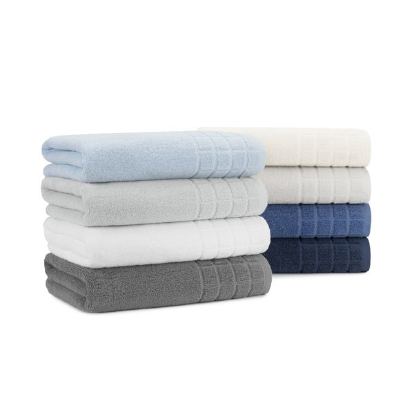 Designer Dobby Check Double 6-piece Cotton Bath Towel Set with, Bath Towels, Hand Towels and Washcloths by Briarwood Home