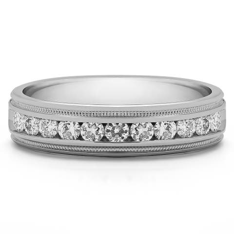 TwoBirch Sterling Silver Men's Wedding Fashion Ring with Cubic Zirconia (0.77 Cts.)