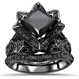 Noori 14k Black Gold 3 1/10ct TDW Black Princess-cut Diamond Lotus Flower Engagement Set