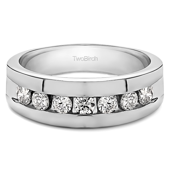 TwoBirch 10k Gold Menx27s Wedding Fashion Ring With Cubic Zirconia 074