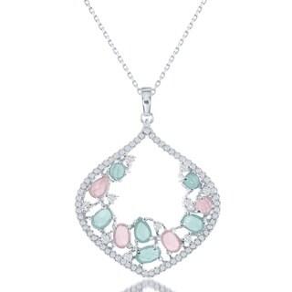 La Preciosa Sterling Silver Multicolored Cubic Zirconia Pendant Necklace