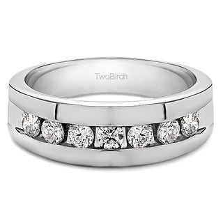 TwoBirch Sterling Silver Men's Wedding Fashion Ring with Cubic Zirconia (0.25 Cts.) (Option: 7.5)