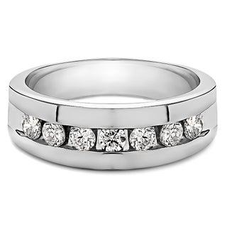 TwoBirch Sterling Silver Men's Wedding Fashion Ring with Cubic Zirconia (0.25 Cts.) (More options available)
