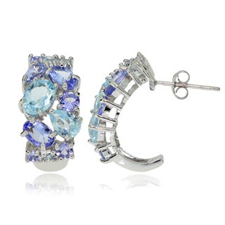 Glitzy Rocks Sterling Silver Tanzanite and Blue Topaz Tonal Cluster Earrings