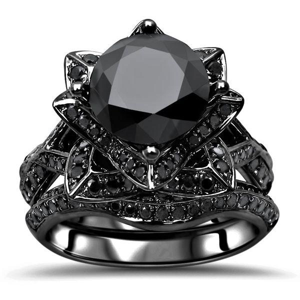 Round Black Diamond Lotus Ring