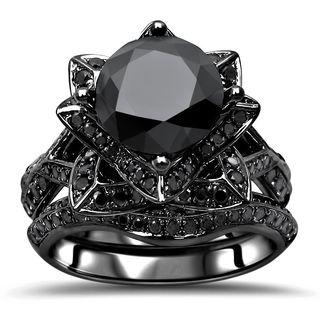 Noori 14k Black Gold 3 1/2ct TDW Black Diamond Lotus Flower Engagement Ring Set - White