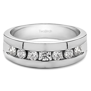 Sterling Silver Men's Wedding Fashion Ring with Cubic Zirconia (0.74 Cts.)