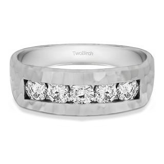 TwoBirch 10k Gold Men's Wedding Fashion Ring with Cubic Zirconia (0.75 Cts.)