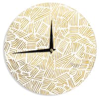 KESS InHouse Pom Graphic Design 'Inca Gold Trail' Yellow Brown Wall Clock