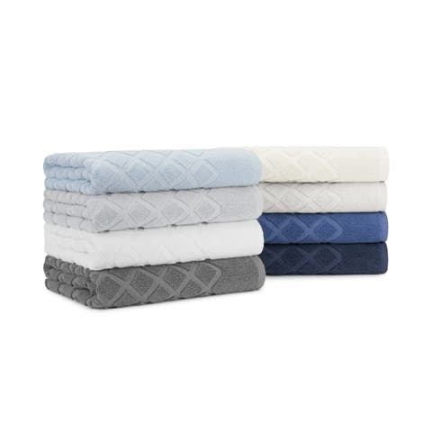 Diamond Jacquard 6-piece Cotton Bath Towel Set, with Bath Towels, Hand Towels and Washcloths by Briarwood Home