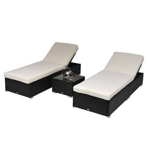 Outsunny Rattan 3-piece Chaise Lounge Patio Set with Side Table