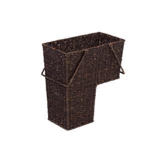 Trademark Innovations Brown Rattan Wicker Storage Stair Basket With Handles