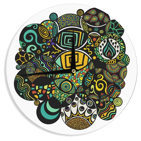 KESS InHouse Pom Graphic Design 'Multicolor Life' Wall Clock