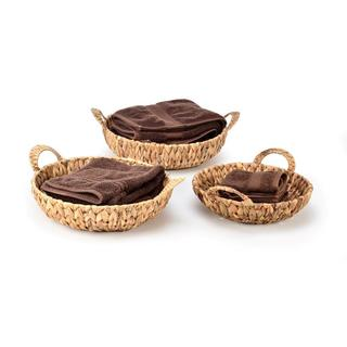 Trademark Innovations Hyacinth Tan Rattan Baskets with Handles (Set of 3)