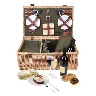Trademark Innovations Deluxe Suitcase-style Insulated-compartment Wicker Picnic Basket