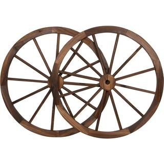 Trademark Innovations Vintage-style Wood 30-inch Diameter 2-piece Steel-rimmed Decorative Garden Wagon Wheel Set