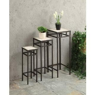 Off-white Travertine Stone/Black Metal Square Plant Stands (Pack of 3)