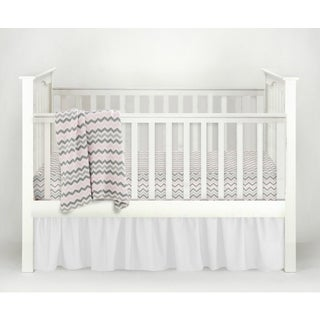 American Baby Company Chevron Pink and White Classic 3-piece Baby Crib Bedding Set