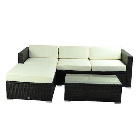 Outsunny Deluxe Outdoor Rattan Wicker 5-Piece Patio Furniture Set