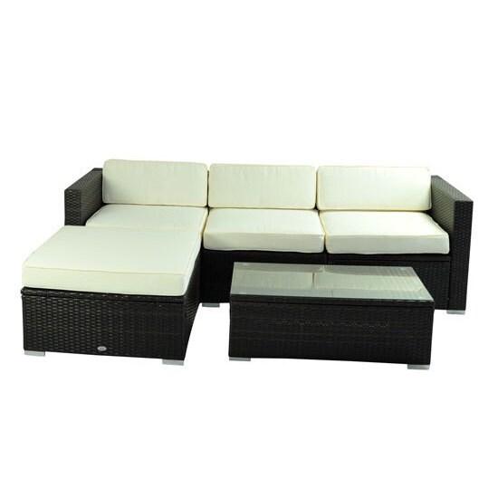 Shop Outsunny Deluxe Outdoor Rattan Wicker 5 Piece Patio Furniture