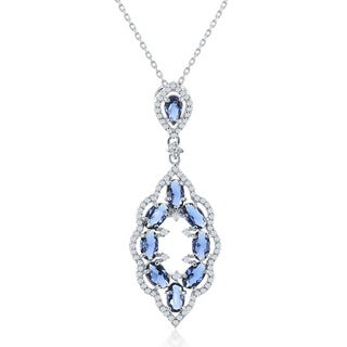 La Preciosa Silvertone /BlueSterling Cubic Zirconia Teardrop Pendant Necklace