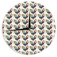 KESS InHouse Pom Graphic Design 'The Rooster Squad' Black Pattern Wall Clock
