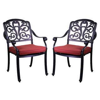 London Black Aluminum Dining Chairs (Set of 2)