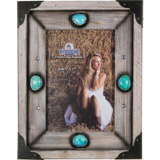 Rivers Edge Products Wood Western Frame with Turquoise Stones