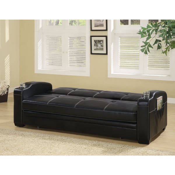 Marvelous Shop Coaster Company Contemporary Black Vinyl Sofa Bed On Dailytribune Chair Design For Home Dailytribuneorg