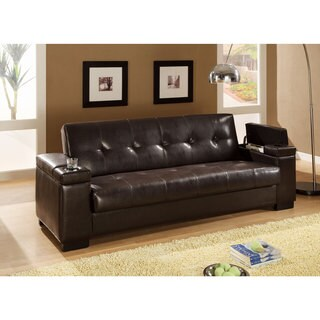 Furniture of America Max Multi functional Futon Sleeper Sofa with Storage and Cup Holder Free
