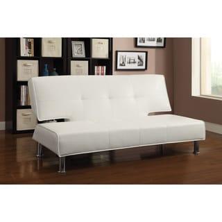 Coaster Company White Vinyl Sofa Bed