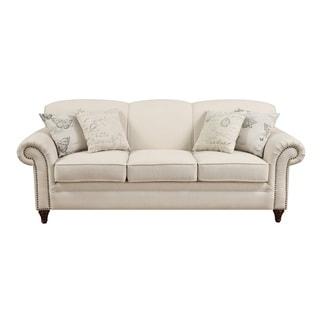 Coaster Company Nailhead Trim Beige Linen Sofa/Loveseat