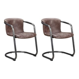 Aurelle Home Rustic Light Brown Leather Dining Chair (Set of 2)