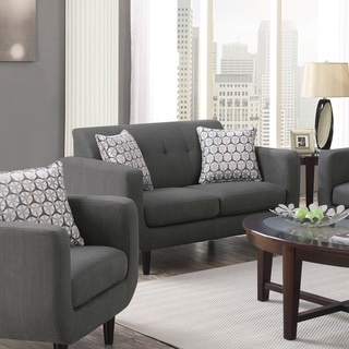 Coaster Company Mid-Century Modern Tufted Grey Fabric Sofa